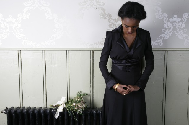 H&R black dress & bouquet