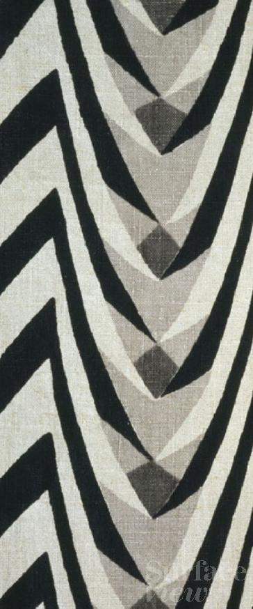 block printed furnishing fabric, by Gregory Brown, V&A Collection, Surface View