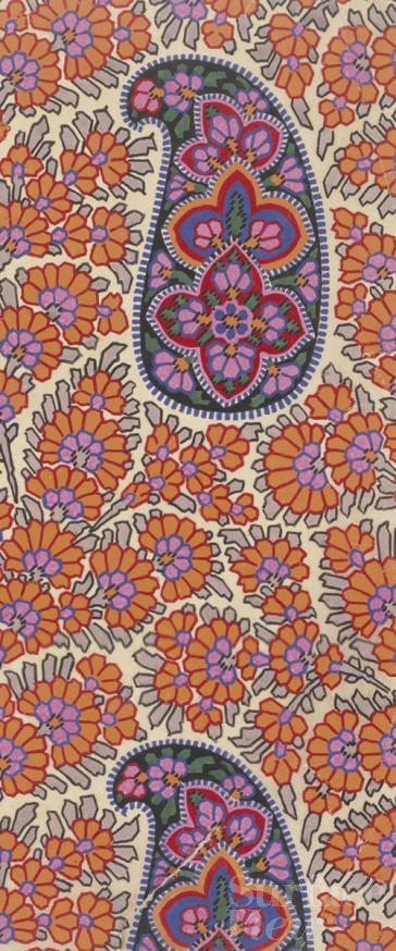Printed shawl fabric, V&A collection, Surface View