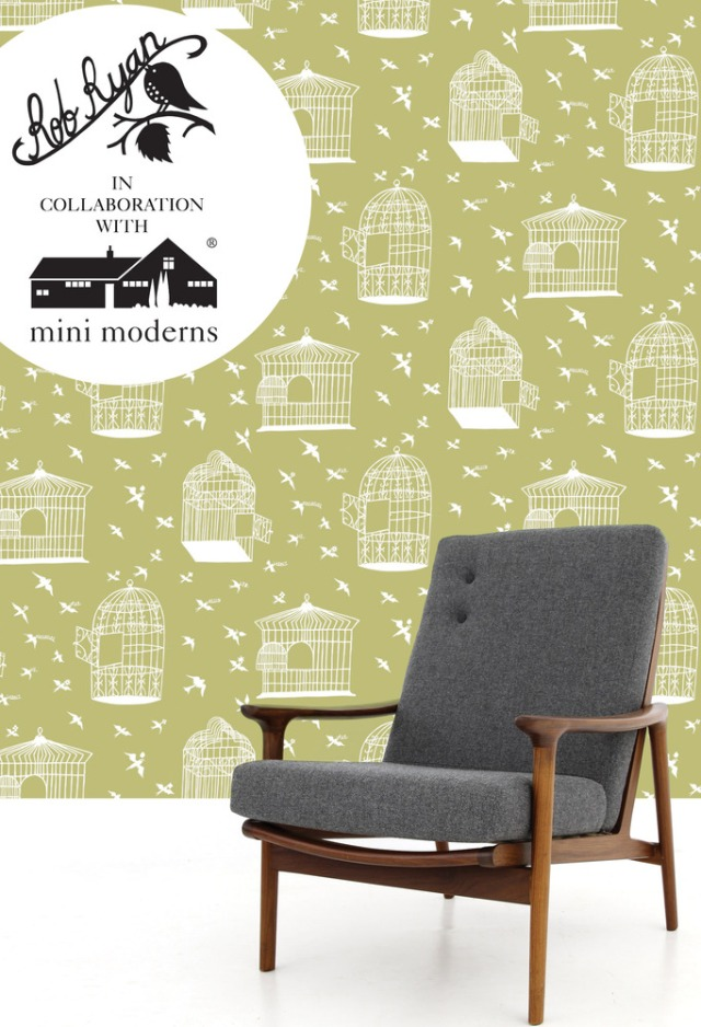 Rob Ryan & Mini Moderns Wallpaper, afternoon green