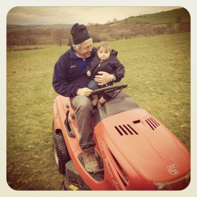 Dad and Oscar on Tractor