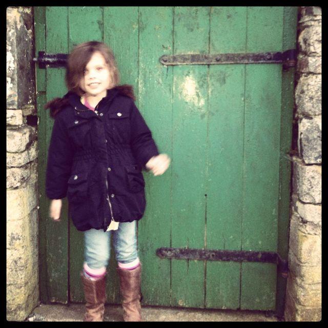 Amy in front of Green Door
